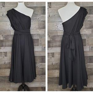 One Shoulder Tie Waist Midi Dress ASOS 12 NWT